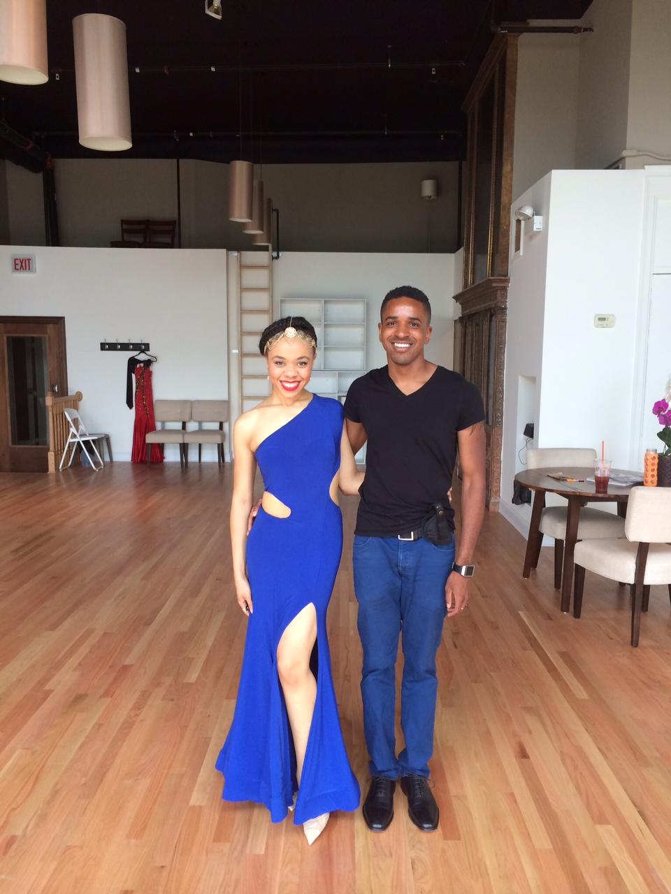 Angela and Matt preparing for their wedding while taking ballroom dance lessons