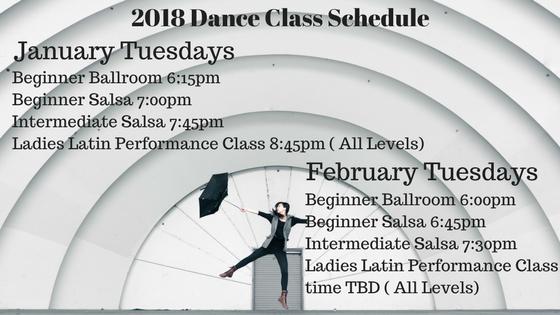 2018 Dance Class Schedule January February
