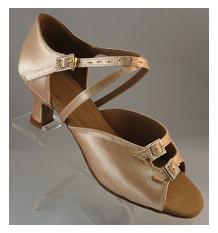 Image Wedding Dance Shoe Chicago 2.0 inch Satin Light Tan