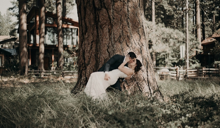 Wedding Dance Couple dipping under tree